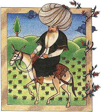 Sebuah miniatur abad ke-17 dari Nasreddin, saat ini di Perpustakaan Museum Istana Topkapi.